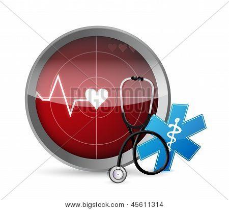 Lifeline Stethoscope Radar Illustration Design