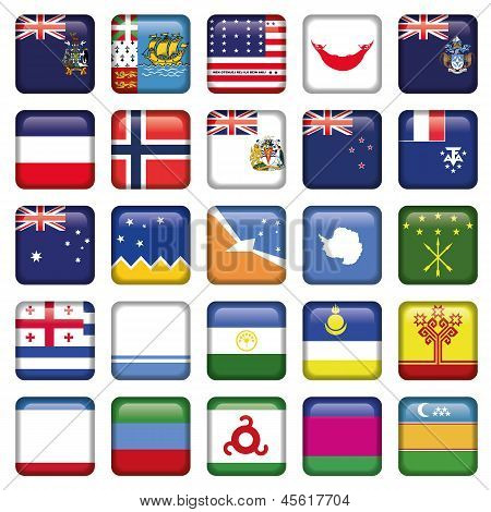 Antarctic and Russian Flags Square Buttons