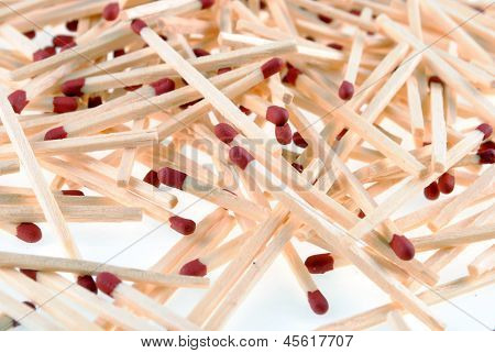 red head wooden matches isolated on white