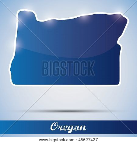 shiny icon in form of Oregon state, USA