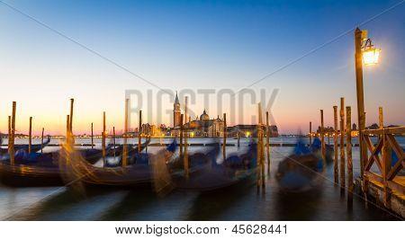 Gondolas At Sunrise With San Giorgio Di Maggiore Church, Venice, Venezia, Italy