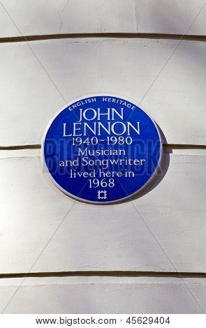 John Lennon Blue Plaque In London