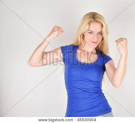 Happy Strong Pretty Girl With Muscles