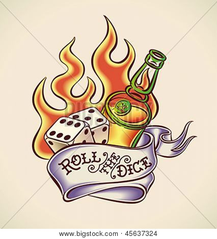 Vintage tattoo design with dice, rum, flame and banner. Editable vector illustration.