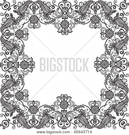 Wedding invitation or greeting card with lace floral frame poster