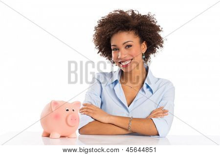 Businesswoman With Piggybank Isolated Over White Background