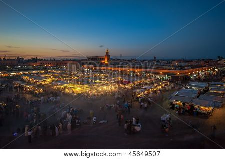 Jemaa el-Fnaa square and market place in Marrakesh Morocco poster