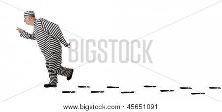 Convict prisoner jailbird is escaping from jail