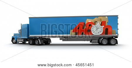 Trailer truck with a sign advertising a 48 hrs delivery delay