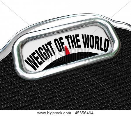 The words Weight of the World on a scale to illustrate trouble, burden, problem, danger on the shoulders of one responsible person