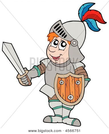 Cartoon Knight On White Background