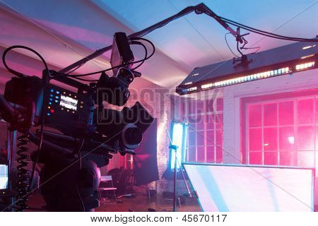 MOSCOW - OCT 24: Room in the purple light with equipment for a film on shooting video clip Rene in White Studio, on October 24, 2010 in Moscow, Russia.