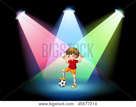 Illustration of a soccer player at the stage with spotlights