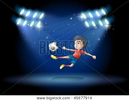 Illustration of a young boy playing soccer with spotlights