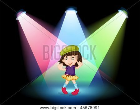 Illustration of a stage with a young girl dancing