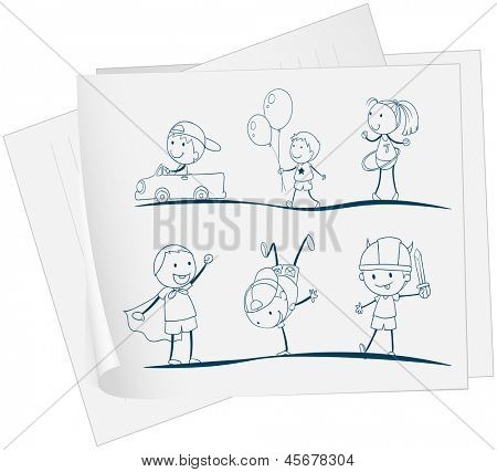 Illustration of a paper with a sketch of kids playing on a white background