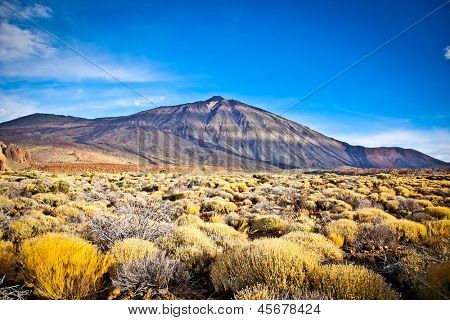 Volcanic lava landscape on Teide, Tenerife, Canary Islands, Spain.