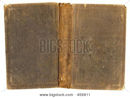 Antique Book: Grunge Brown Full Cover Isolated On White