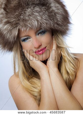 Beautiful Russian Woman With Blue Makeup And Pink Lipstick