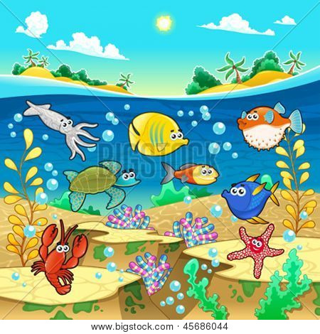 Family of funny fish in the sea. Vector and cartoon illustration.