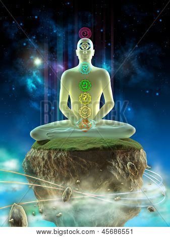 Hombre meditando en un paisaje imaginario. Chakra puntos visibles en su cuerpo. Ilustración digital.