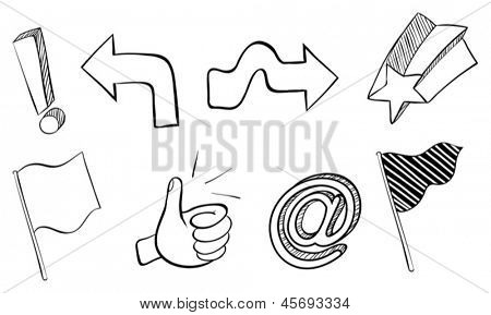 Illustration of the doodle sets of different symbols on a white background
