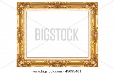 Golden Picture Frame Isolated On The White Background
