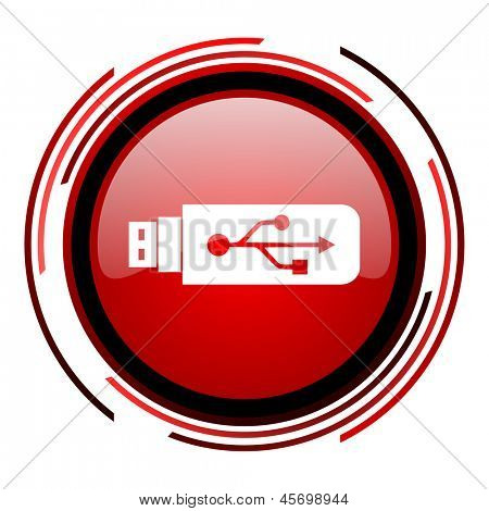 usb red circle web glossy icon on white background