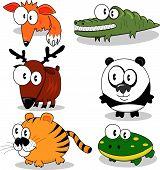 Some cartoon animals (fox deer tiger crocodile panda frog). poster