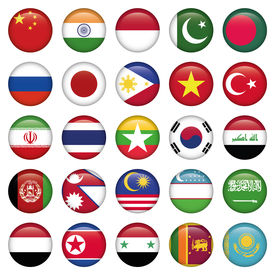 Asiatic Flags Round Icons