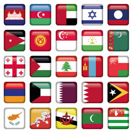 Asia Flags Square Buttons