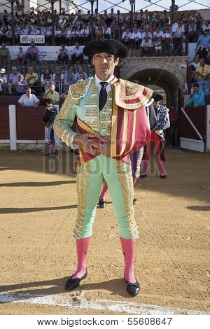 Spanish bullfighter Manuel Jesus El Cid at the paseillo or initial parade in Ubeda