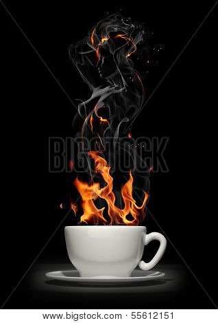 Hot drink. Coffee cup with steam
