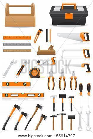 Set Tools Icons Vector Illustration