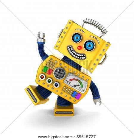 Yellow Vintage Toy Robot Goofing Around