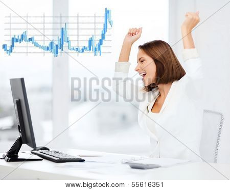 business, office, triumph, winning and mony concept - happy businesswoman with computer in office poster
