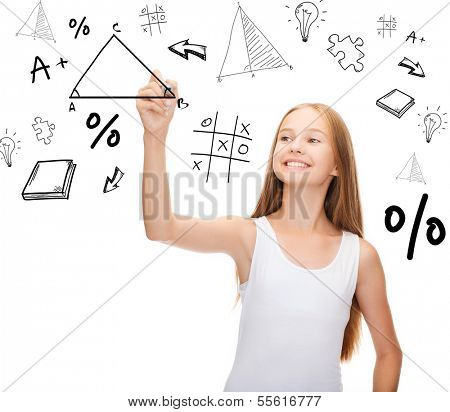 education and new technology concept - smiling teenage girl in blank white shirt drawing triangle on virtual screen