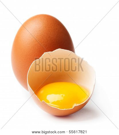 Whole and broken egg isolated on white background poster