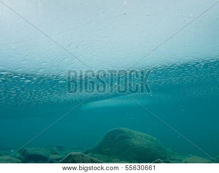 Frozen Lake Ice Sheet Underwater Rocks