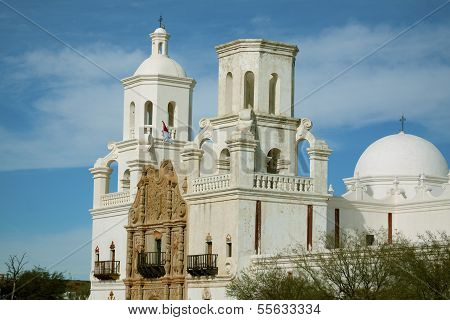 The Mission San Xavier del Bac is an historic Spanish Catholic mission built in established in 1775. A Tucson, Arizona landmark. poster