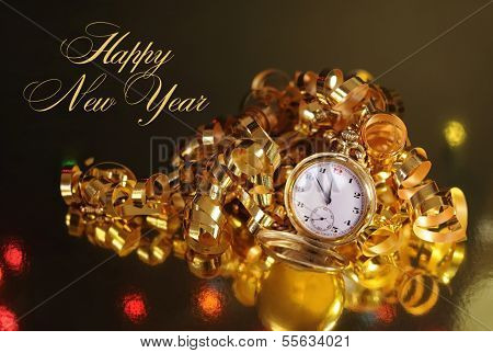 Gold Pocket Fob Watch Ready For Midnight On New Years Eve With Gold Decoration And Happy New Year Me