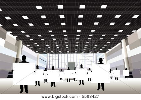 Businessmen with board for text silhouette in business center vector
