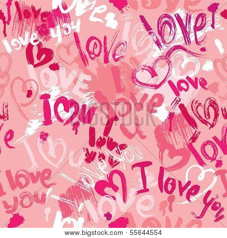 Seamless pattern with brush strokes and scribbles in heart shapes and words LOVE I LOVE YOU - Valentines Day Background. poster