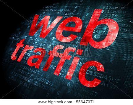 SEO web design concept: Web Traffic on digital background