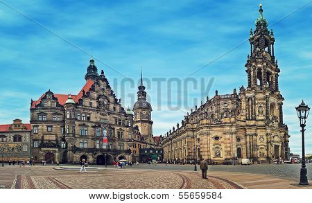 DRESDEN, GERMANY - JULY 09: Dresden Cathedral - most important Catholic church located in historic center. Church was damaged during World War II and restored in mid-1980s in Dresden, Germany on July 09, 2004.