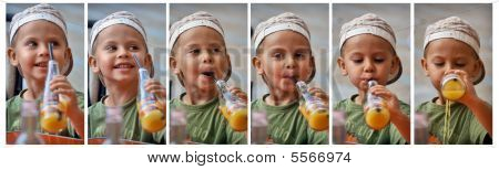 Sequence of little boy how he is drinking juice with straw even thought he spill