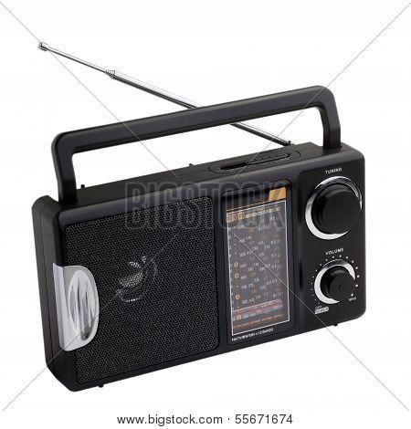 black radio isolated on white background