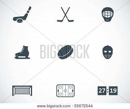 Vector black hockey icons set on white background poster