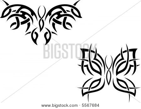 Isolated butterfly tattoos in style on white background poster