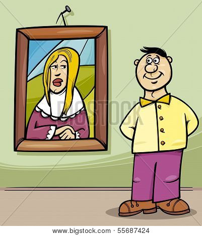 Man In Art Gallery Cartoon